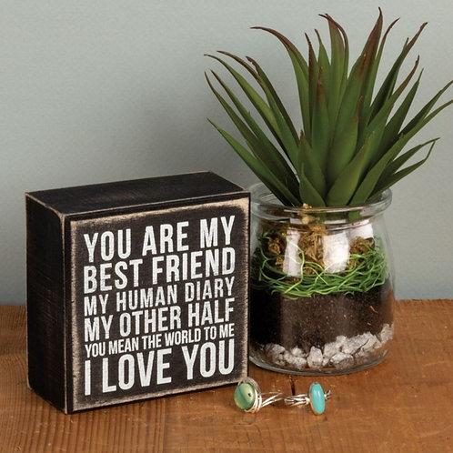 Love My Friend Box Sign