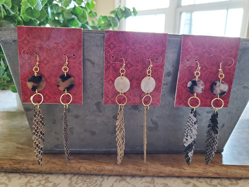 Animal Leather & Stone Earrings