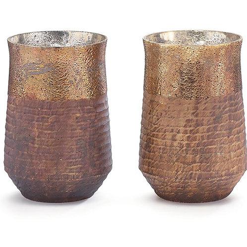 Ribbed Metallic Vase