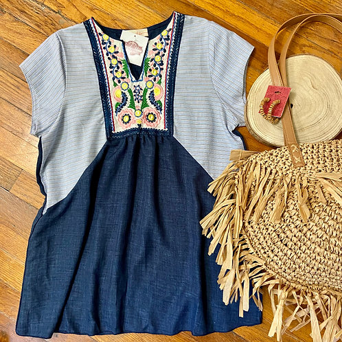 Embroidery with Stripes Top