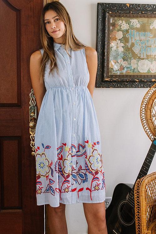 Sleeveless Striped Shirt Dress