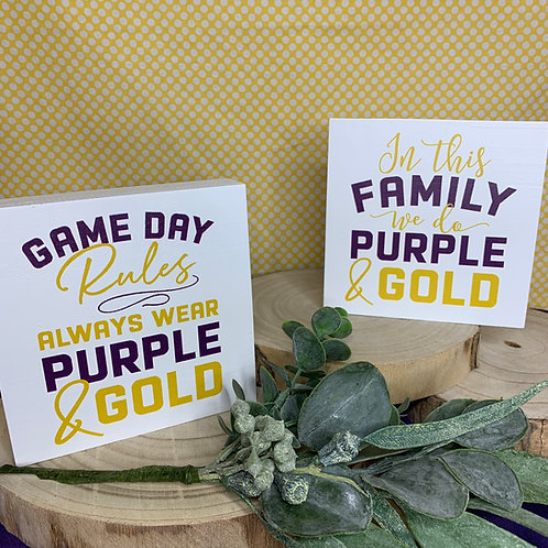 Purple & Gold Desk Signs
