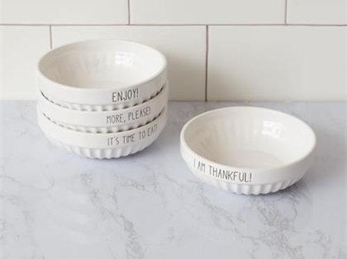 White Ribbed Bowls