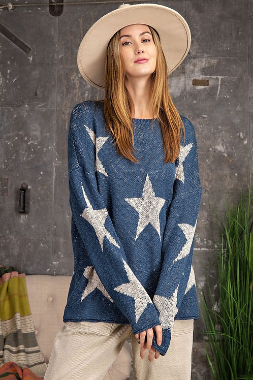 Starry Teal Sweater