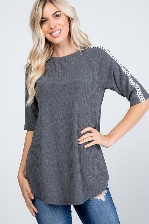 Charcoal Crochet Trim Top