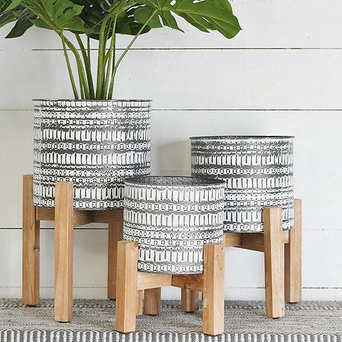 Tin Planter & Stand