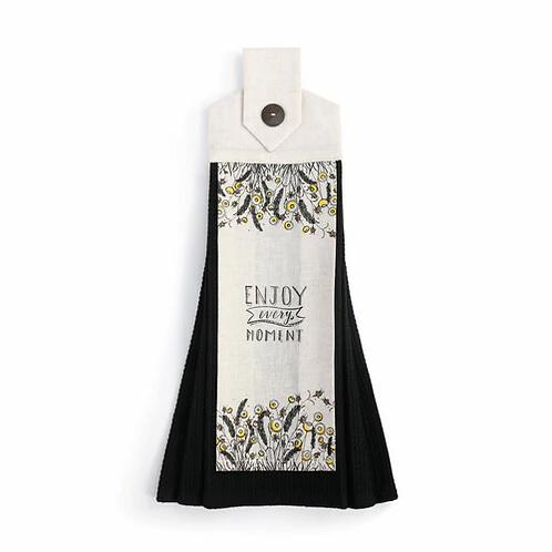Button Loop Black Tea Towel