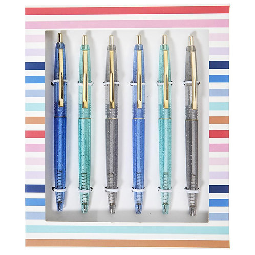 Blue Glitter Pen Set
