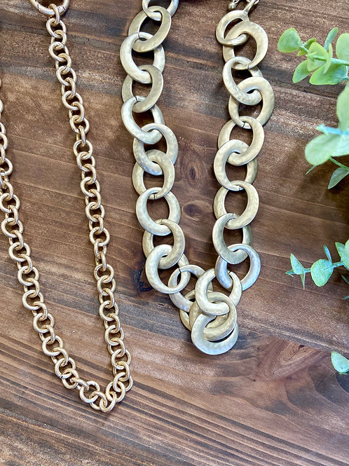 Round Link Gold Necklace