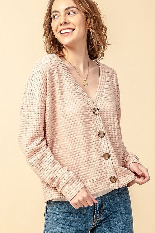 Dusty Rose Button Cardigan
