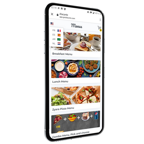 Feature -Multilingual menu - Restaurant digital menu