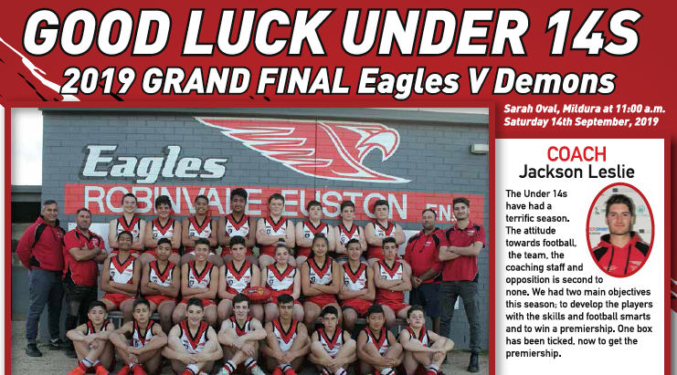 Good luck to our under 14's