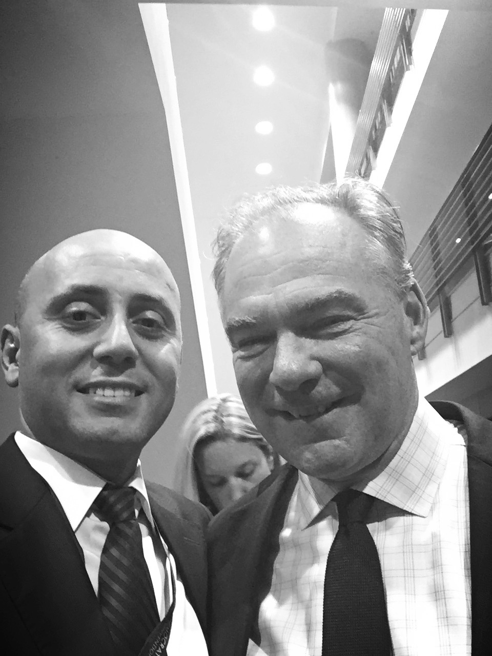 Bilal Eksili with Senator Tim Kaine