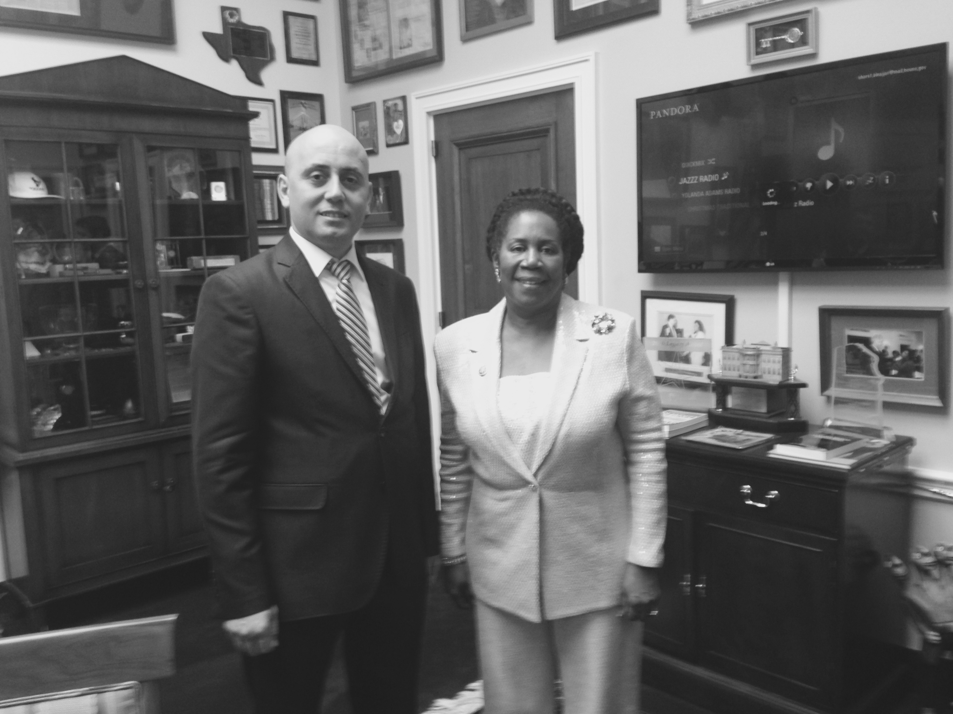 Bilal Eksili with Congresswoman Sheila Jackson Lee