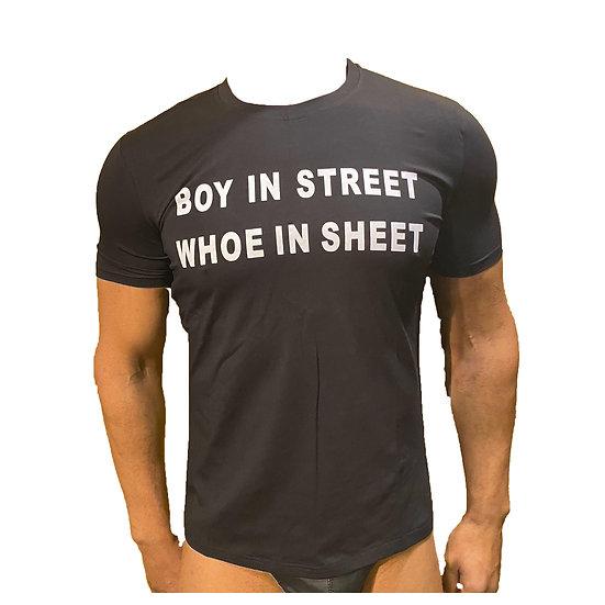 T-Shirt Boy In Street Whoe In Sheet