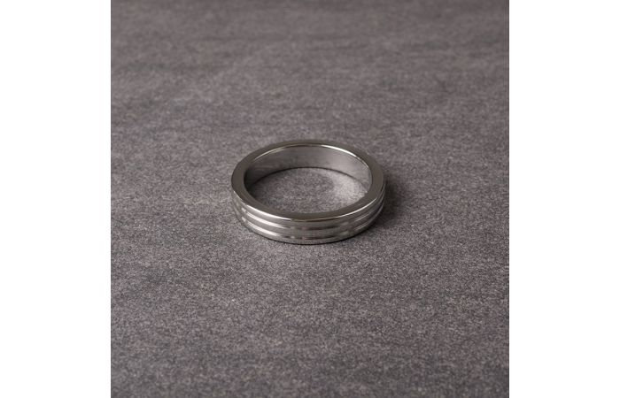 Metal Cockring Ribbed 10 mm wide