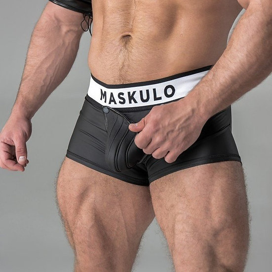 Maskulo - Armored. Rubber look Trunk Shorts. Detachable pouch. Zippered rear