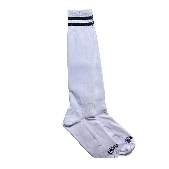 Borisboy Socks - White (Black Stripes)