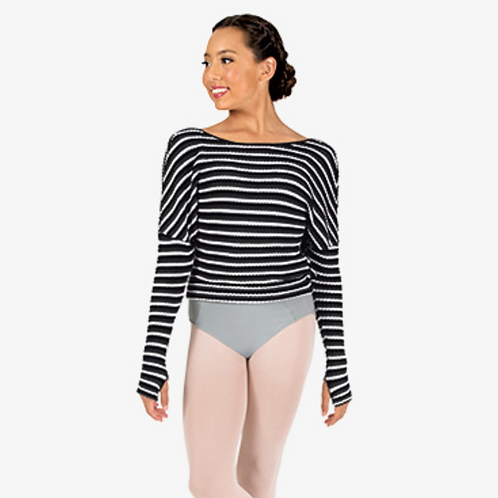 Natalie Womens Striped Knit Warm Up Long Sleeve Sweater