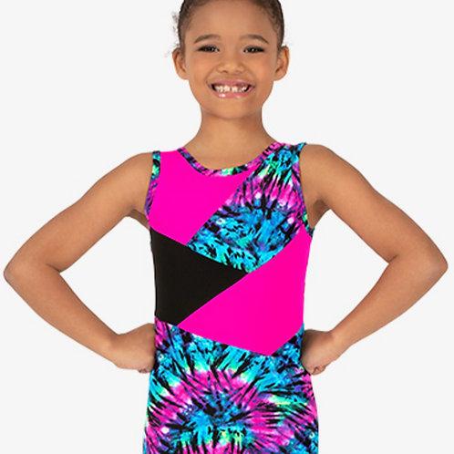 Perfect Balance Girls Gymnastics Neon Tie-Dye Tank Shorty Unitard