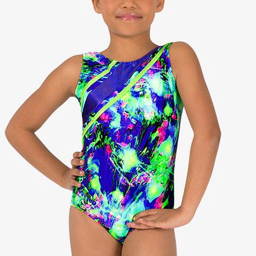 Perfect Balance Girls Gymnastics Lime Green Splatter Strappy Tank Leotard
