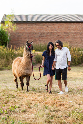 Couple in love walking with Pharaoh the