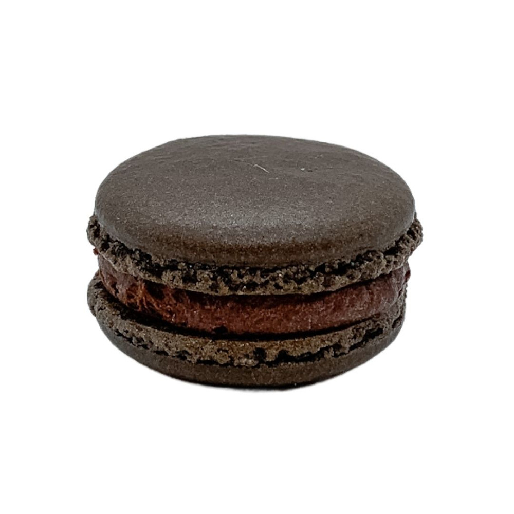 Black cocoa almond macaron shell with orange dark chocolate ganache.