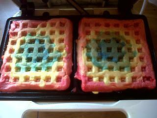 making rainbow waffles