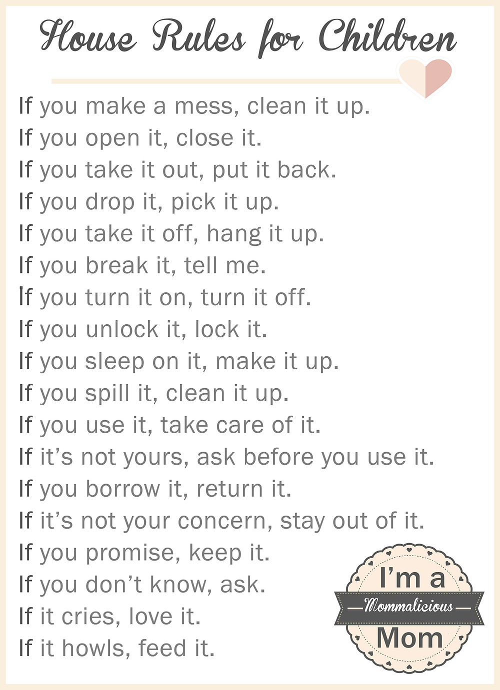 house rules for children