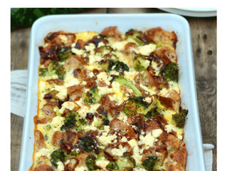 Broccoli, Feta & Caramelised Onion Strata
