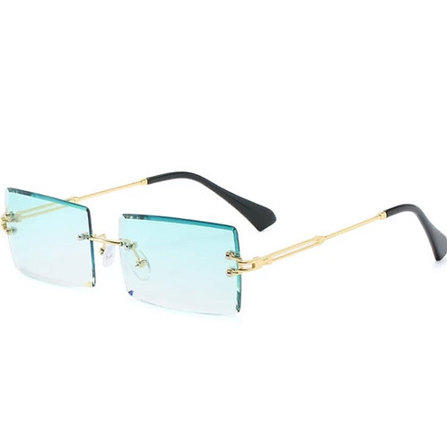 Blue Green Rimless Glasses