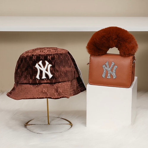 Velour Brown NY Bucket Hat