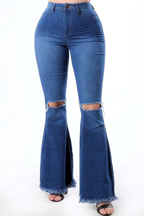 Slit High Waisted Bell Bottom Jeans