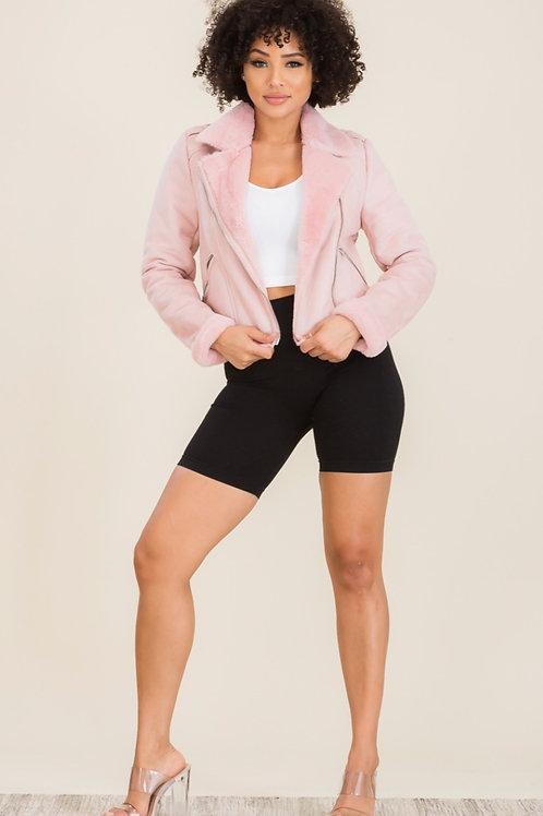 Pink Suede Faux Jacket