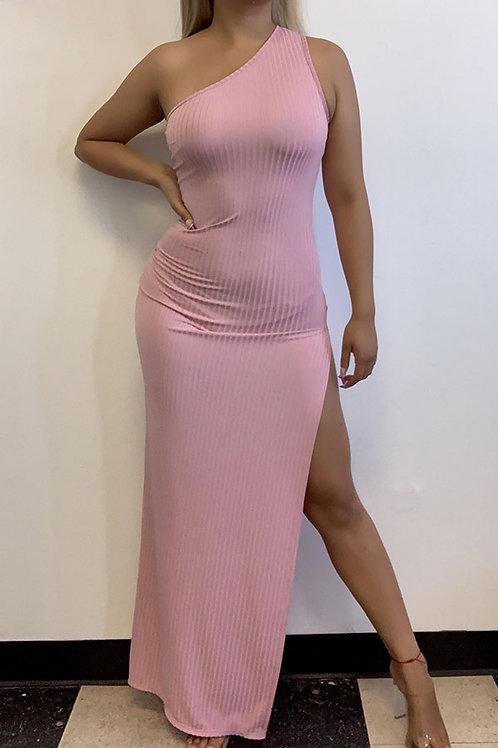 Elsy Pink Slit Maxi Dress