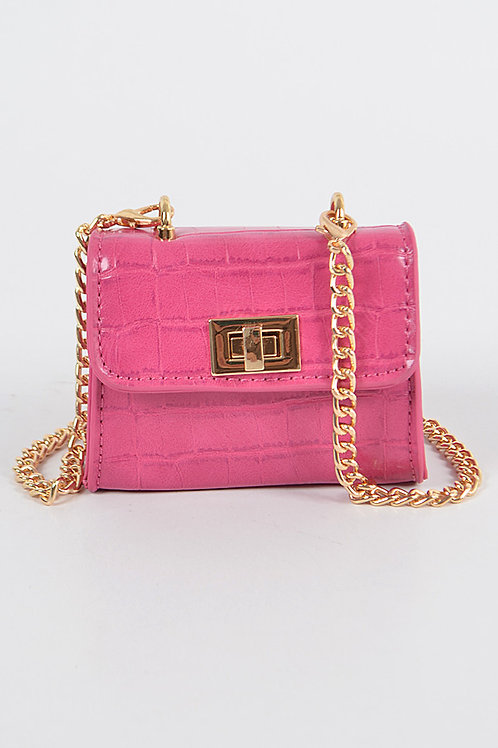 Mini Fuschia Cross Chain Body Clutch