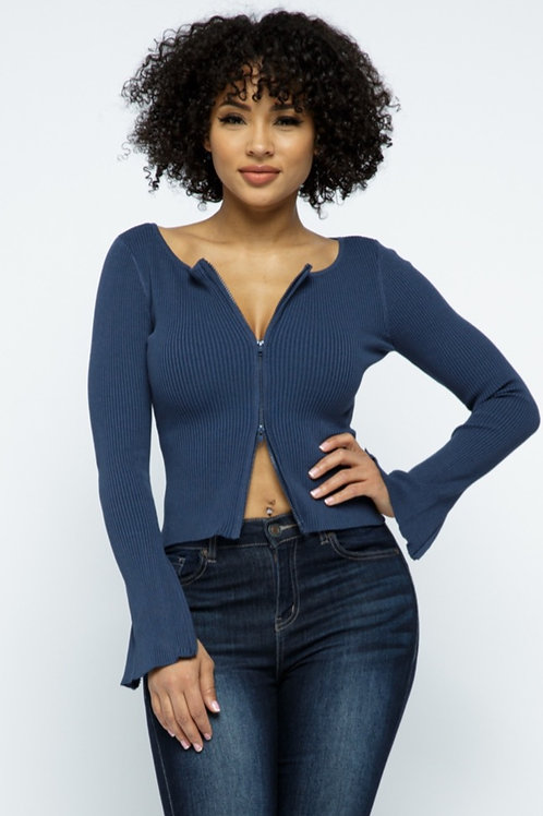 Classic Blue 2 Way Zipper Top