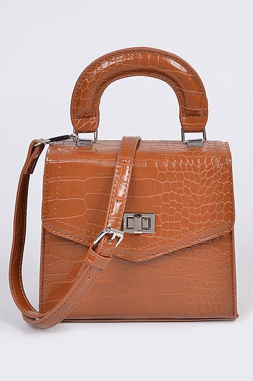 Camel Snakeskin Babe Bag