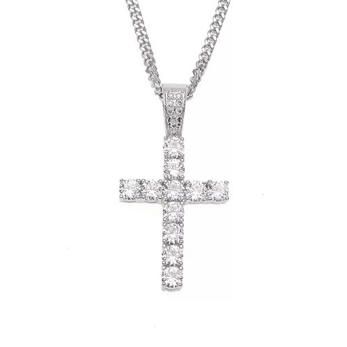 Iced Out Silver Cross