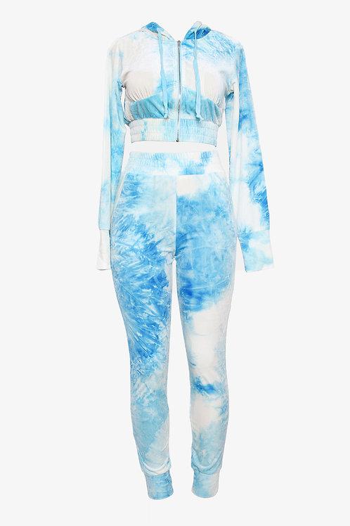 Turquoise Tye-Dye Velour Lyha Pant Set