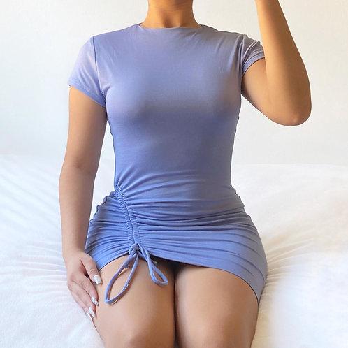 Steel Blue Scrunch Side Dress