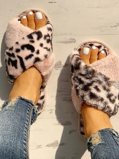 Fluffy Pink Leopard Slippers