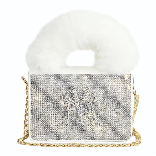 White Sparkly NY Purse