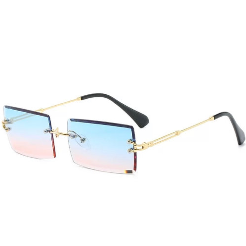 Blue Pink Rimless Glasses
