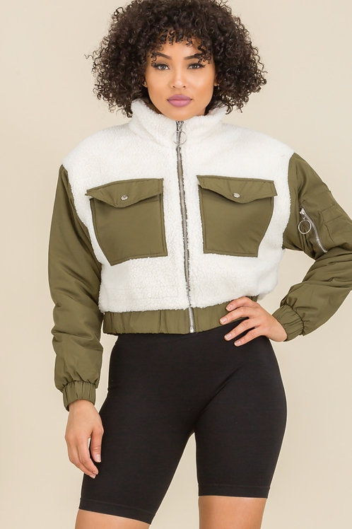 Olive Teddy Jacket