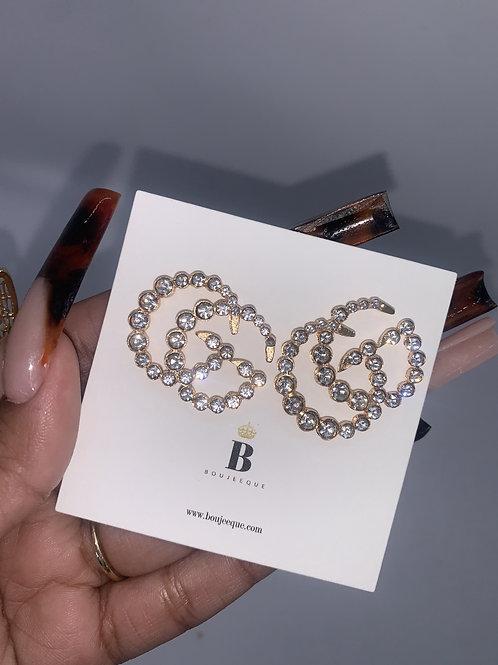 Gold Solid GG Inspired Earrings