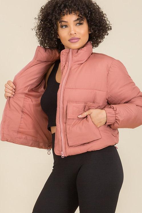 Mauve Cropped Puffer Jacket
