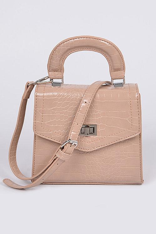 Beige Snakeskin Babe Bag