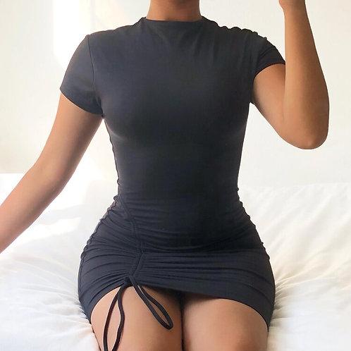 Black Scrunch Side Dress