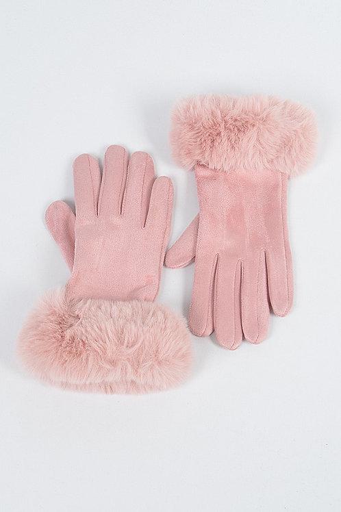 Pink fur Gloves